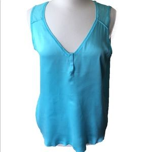 Go Silk Turquoise Blue Sleeveless Top size L